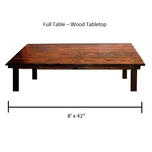 "Full Table 8' x 42"" Wood Tabletop"