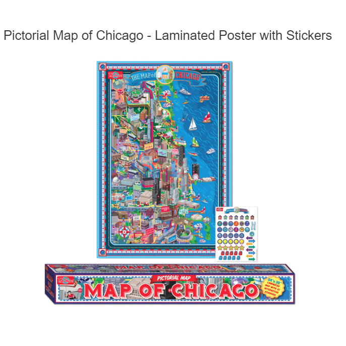T.S. Shure Pictorial Map of Chicago - Laminated Poster with Interactive Stickers