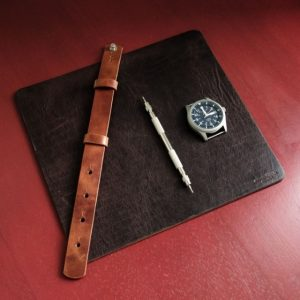 McMurray & Blonde - leather watch strap and mousepad