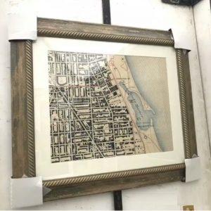 Refefined Map Design - framed vintage map