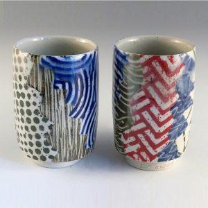 Buchenot Ceramics at Chicago Artisan Market - Woodfired Porcelain Mugs with Slip Underglaze
