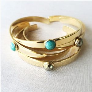 Marigold Mary at Chicago Aritisan Market - Pyrite or Amazonite Brass Cuffs