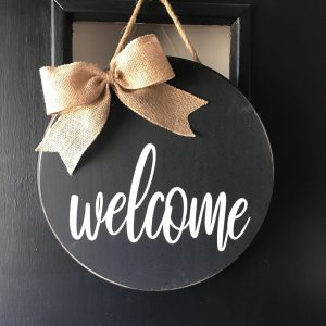 Lucy Schmidt - DIY Wood Sign (Welcome) with Tan Ribbon at Chicago Artisan Market